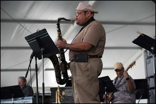 Brian Quezergue and band at the Jazz Tent during day two of Jazz Fest 2016. Photo By Ryan Hodgson-Rigsbee www.rhrphoto.com