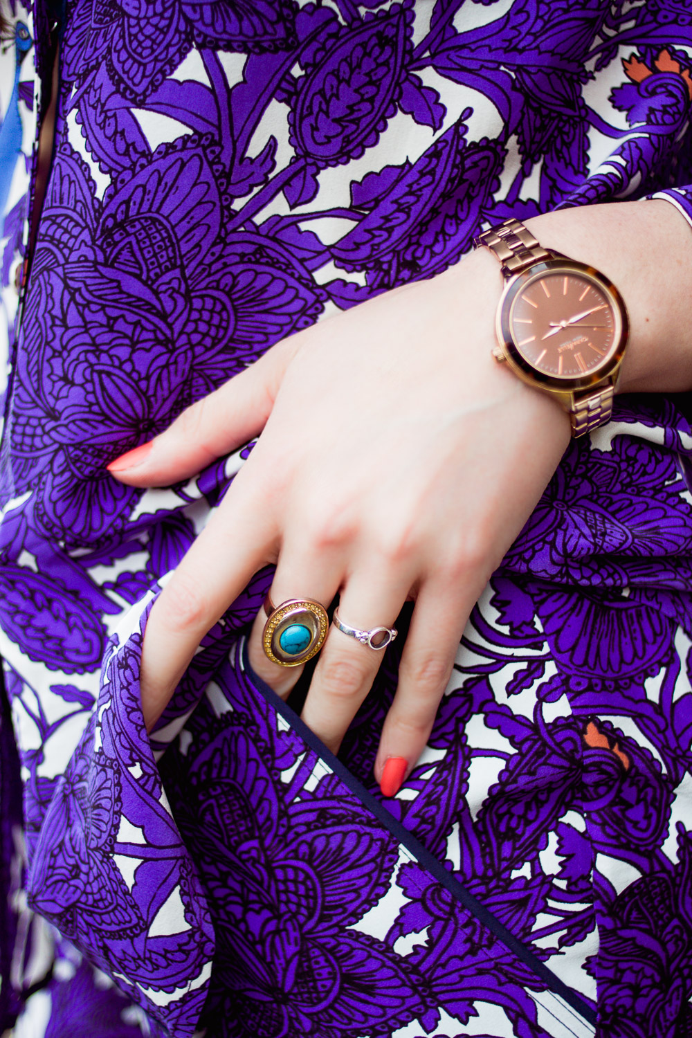 jewellery watch and rings in a pocket