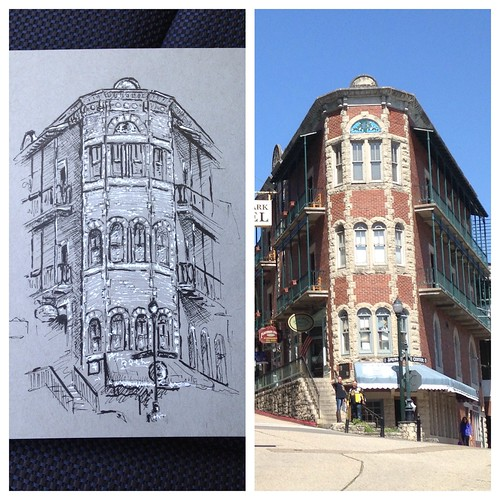 Sketching in Eureka Springs. The flatiron building.
