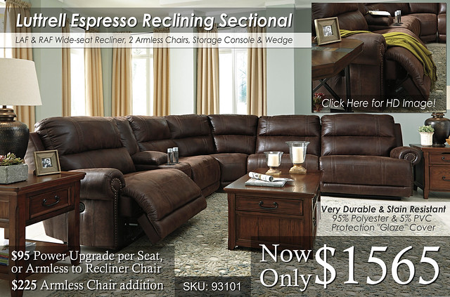6pc Luttrell Espresso Reclining Sectional