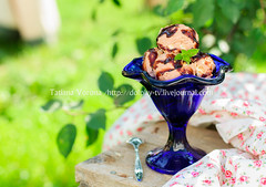Chocolate Ice Cream with Fudge Sauce in a Blue Bow…