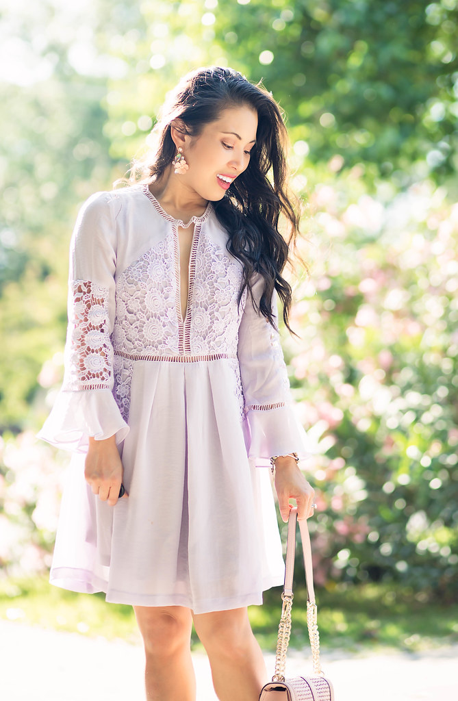 cute & little blog | petite fashion | lavender chiffon bell sleeves lace crochet dress | baublebar emma drops statement earrings | spring mothers day wedding guest outfit