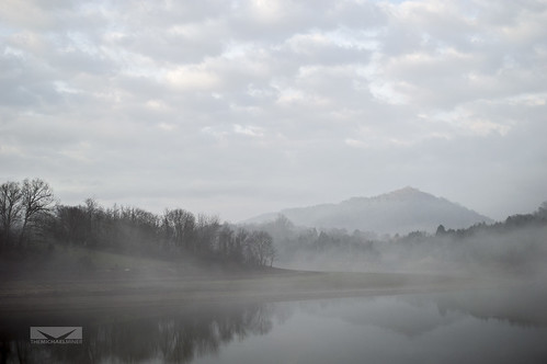 morning trees sky mountains water fog clouds river landscape gray