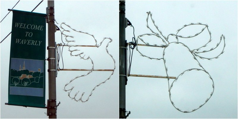 Welcome to Waverly banner with a dove, and a bell
