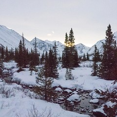 Hiking to Symphony Lake near Eagle River...snow covered wilderness ☃