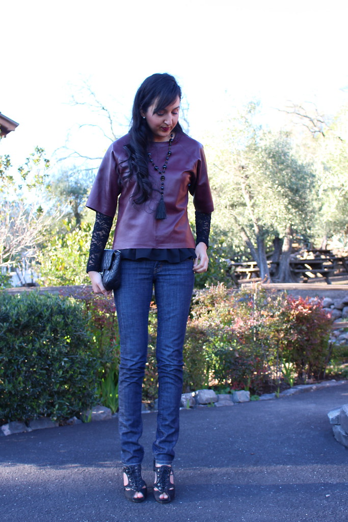Layering with Leather and Peplum 7