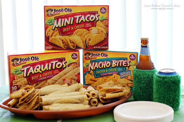 Three boxes of Jose Ole mini tacos and taquitos with a plate of tacos and taquitos stacked on it.
