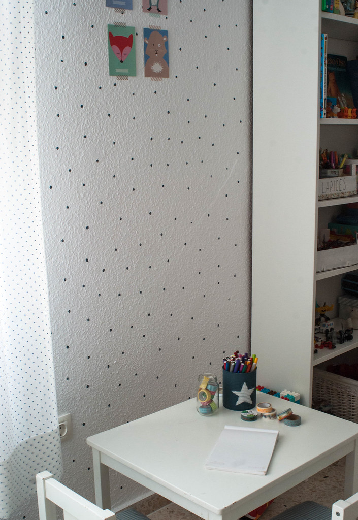 Pared de topos con chalk paint