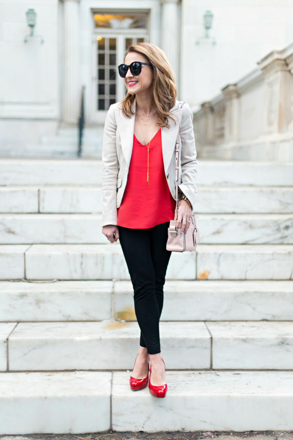 J Crew Carrie Cami + Banana Sloan Pants + Red Patent Pumps