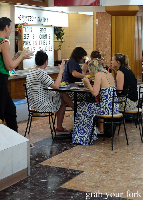 Food court customers at Ghostboy Cantina in Dixon House Food Court, Sydney