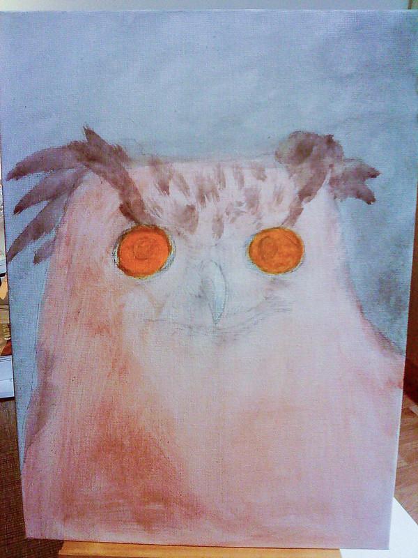 akrylmålning uggla steg 2
