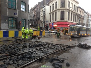 Tram repairs outside my hotel (all night!)