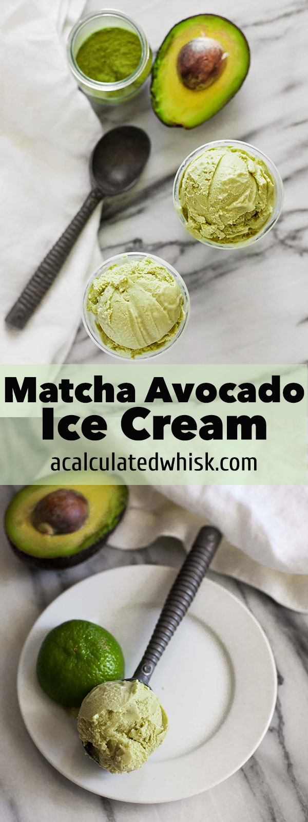 Matcha Avocado Ice Cream (Gluten free with a dairy-free option)