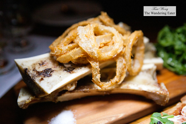 Bone marrow topped with onion rings