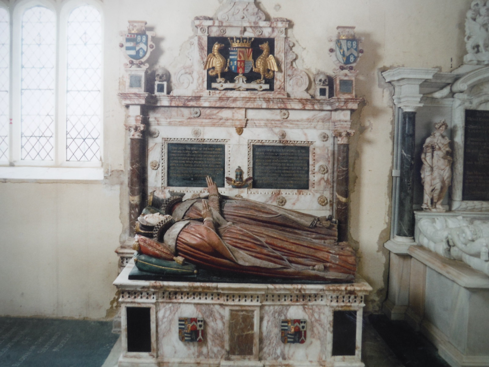 De Grey Mausoleum, Flitton, one of the effigies SWC Walk 231 Flitwick Circular