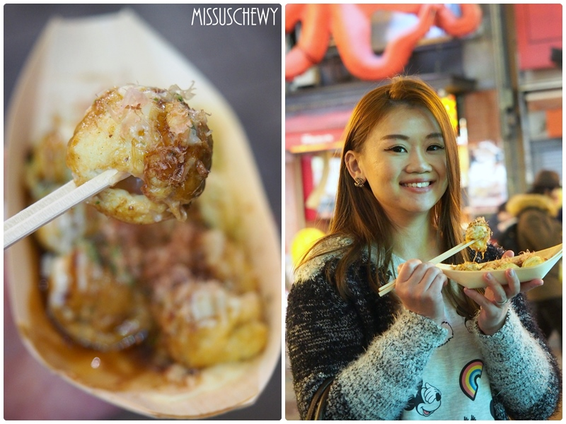 Eating Takoyaki at Dontonburi