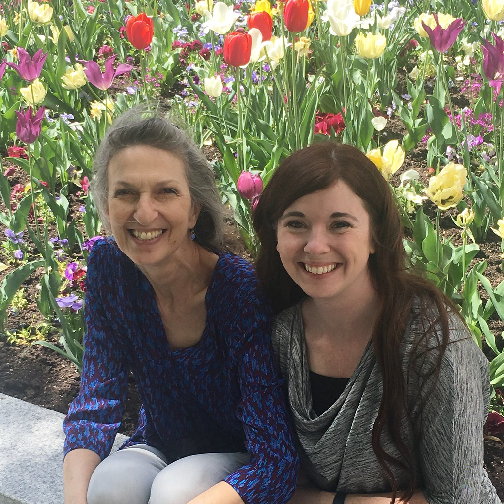 Mother-in-law and me with tulips