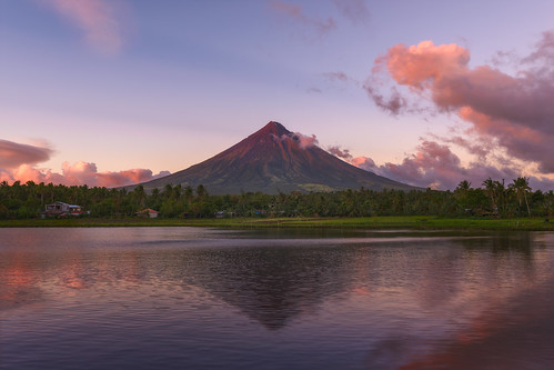 sunset red reflection water landscape outdoor philippines mayon 2016 legazpi albay sumlanglake