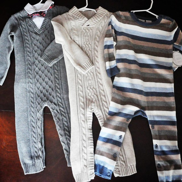 Deal of the week: 3 sweater rompers for $16. SOLD! I couldn't pass up the one with a bow tie! ❤