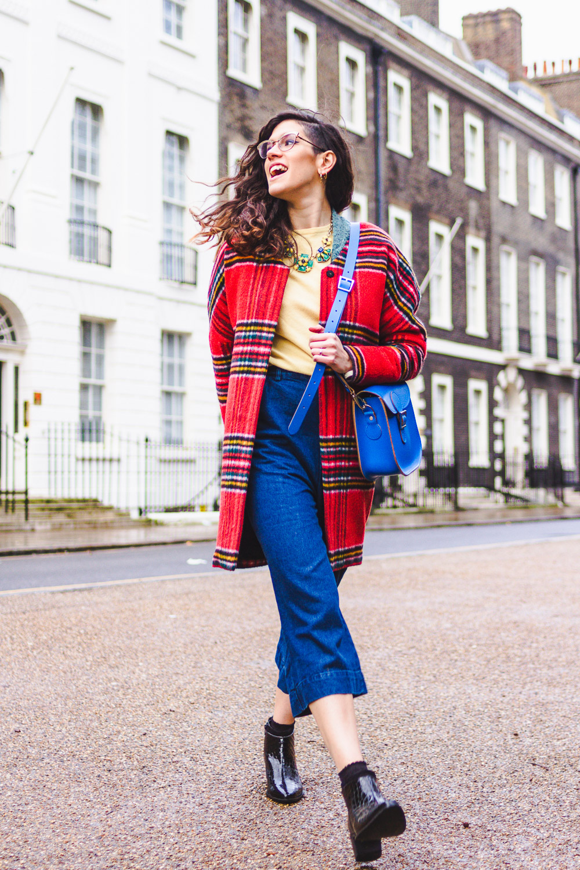 british style primary colours tartan denim
