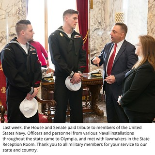 Rep. Jay Rodne meets with members of the U.S. Navy in Olympia.