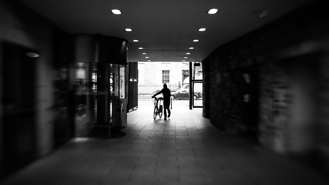 Walking with the bike - Dublin, Ireland - Black and white street photography