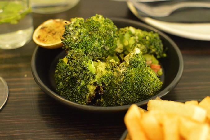 Charred broccoli, almonds & lime