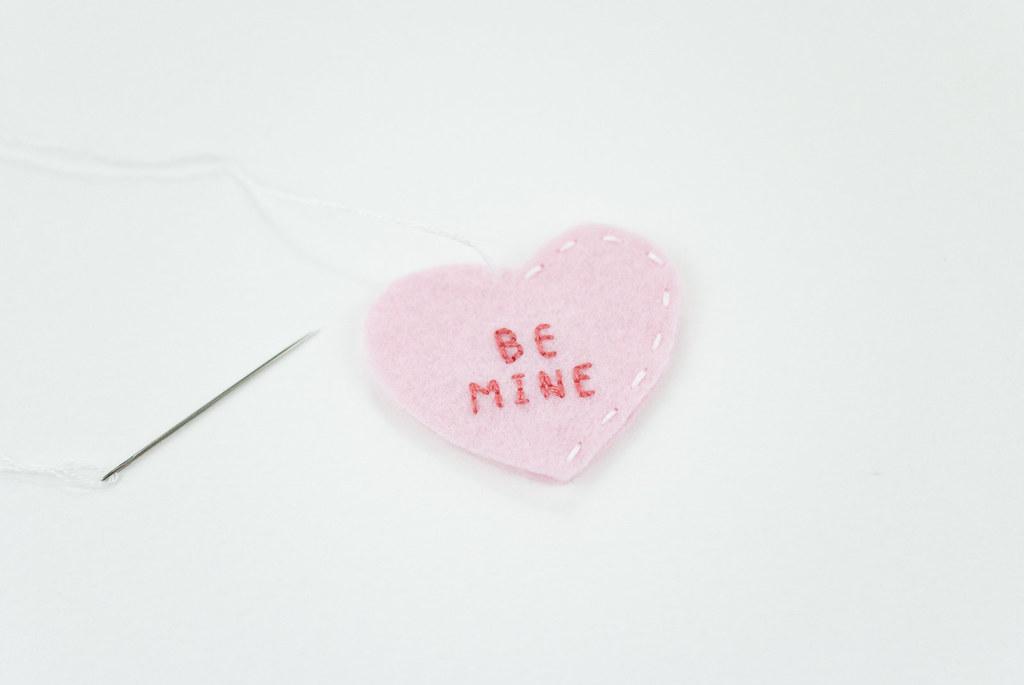 Mini DIY Felt Conversation Hearts