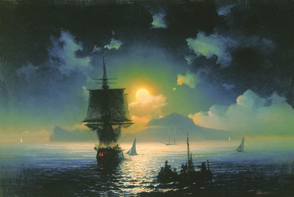 A Lunar night on Capri by Ivan Aivazovsky, 1841