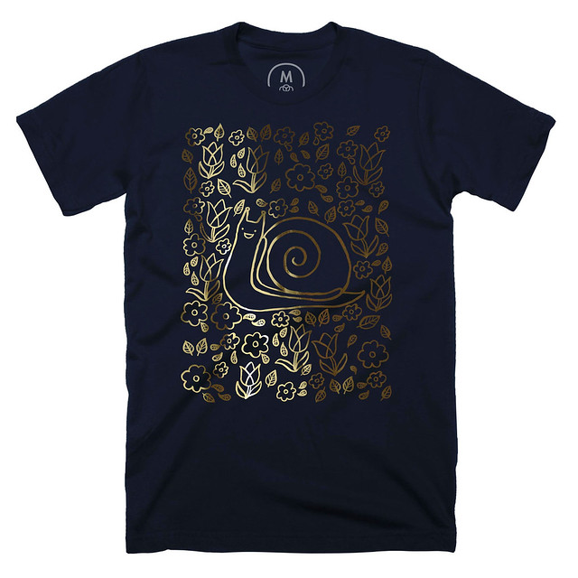 Snail Garden Midnight Navy T-shirt