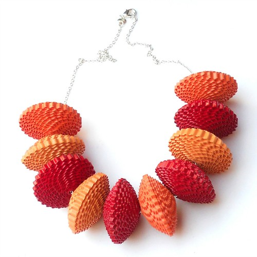 Red and Orange Corrugated Paper Necklace by Hanga Mathe of Babelfish Jewelry