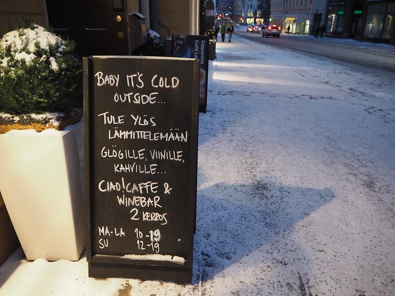 talvihki18, baby its cold outside, ulkona on kylmä, ciao, caffe and winebar,