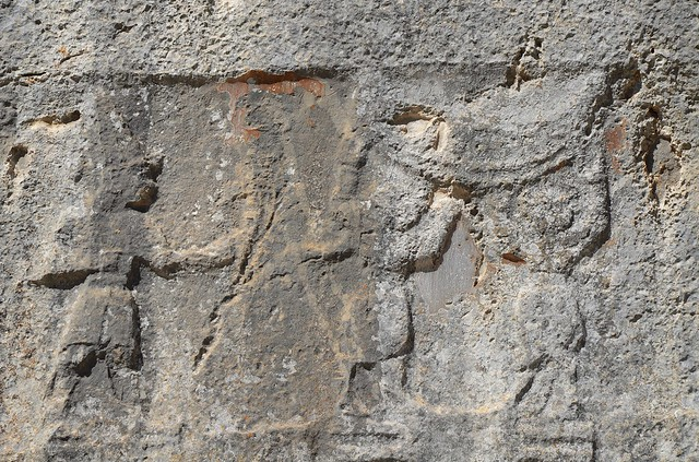 Chamber A, two bull men stand between male gods on the hieroglyphic symbol of the earth and supporting the sky, Yazılıkaya, the Hittite sanctuary of Hattusa, Turkey