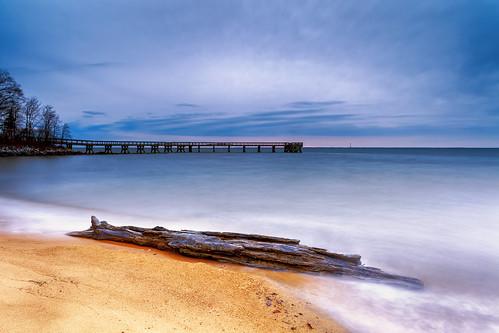 longexposure beach clouds sunrise landscape dawn pier maryland driftwood pasadena chesapeakebay waterscape downspark singhray rgnd