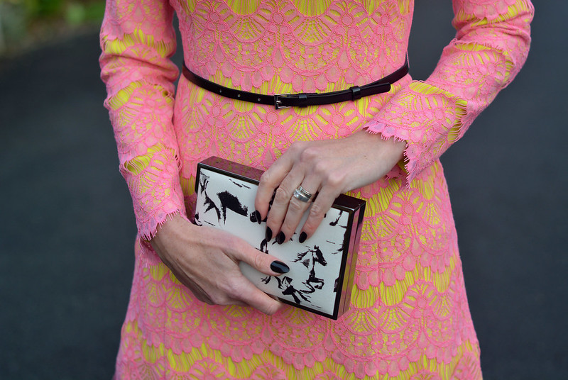 Not Dressed As Lamb | Pink and yellow lace French Connection dress, printed box clutch