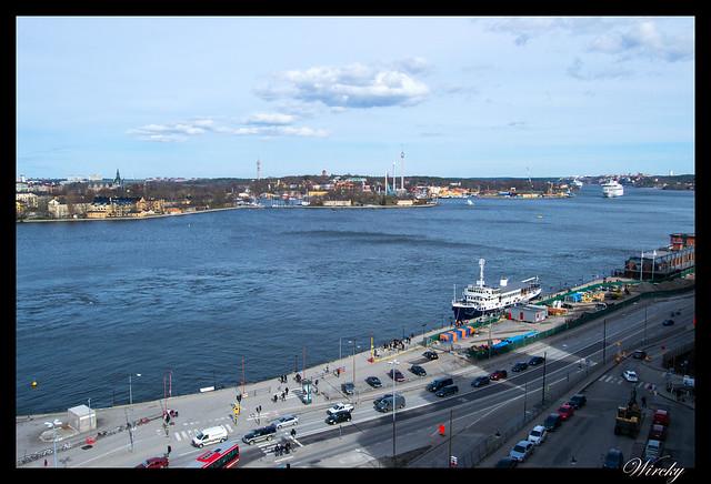 Puerto y mar Báltico desde mirador ascensor Katarina