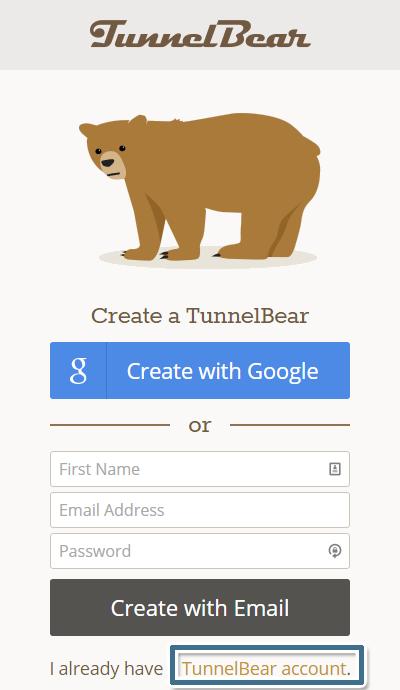 按一下畫面下方的 [I already have a TunnelBear account.] 的 [TunnelBear account] 連結