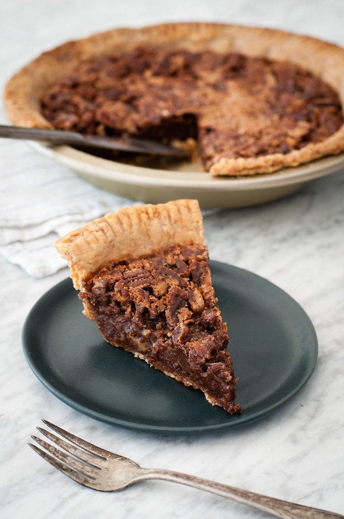 Chocolate chess pie - part of a yummy meatless holiday menu!