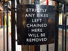 Weird grammar in no bikes sign, Carnaby St,  London, UK