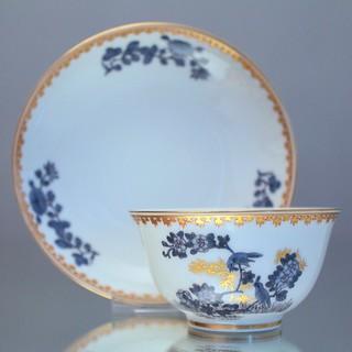 Meissen, Koppchen, Teetasse, Teeschale, cup, bowl, Kupferfarben, goldgravierter Bambur, Kante in Rot und Gold, 570110