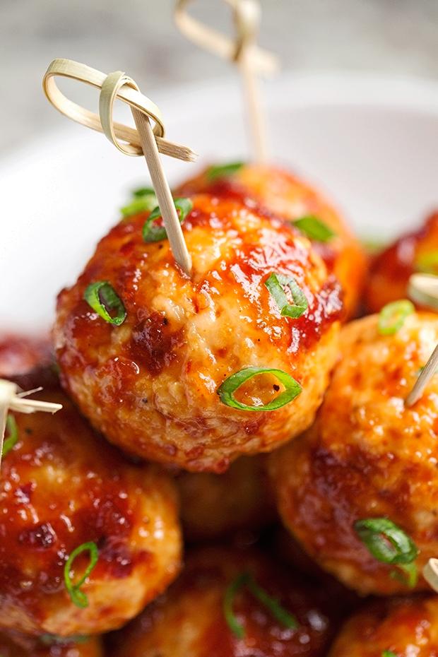 Hawaiian BBQ Chicken Meatballs - easy to make chicken meatballs covered in homemade hawaiian bbq sauce! #chickenmeatballs #meatballs #hawaiiianbbqsauce | Littlespicejar.com