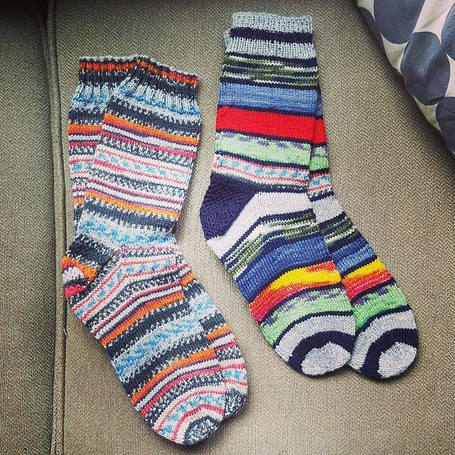 For Christmas I received these amazing hand knit socks. My MIL got them from her friends mother who's in her 90s and still knitting up a storm. I adore there color combinations.