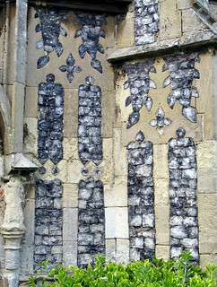 Flushwork tracery panels, the south porch (c.1500) the Church of St George, Great Bromley, Essex, England