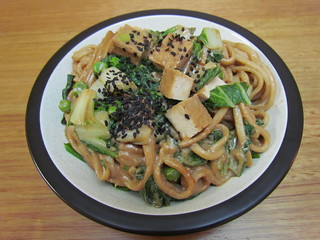Udon Noodles and Baby Bok Choy with Creamy Tahini Sauce