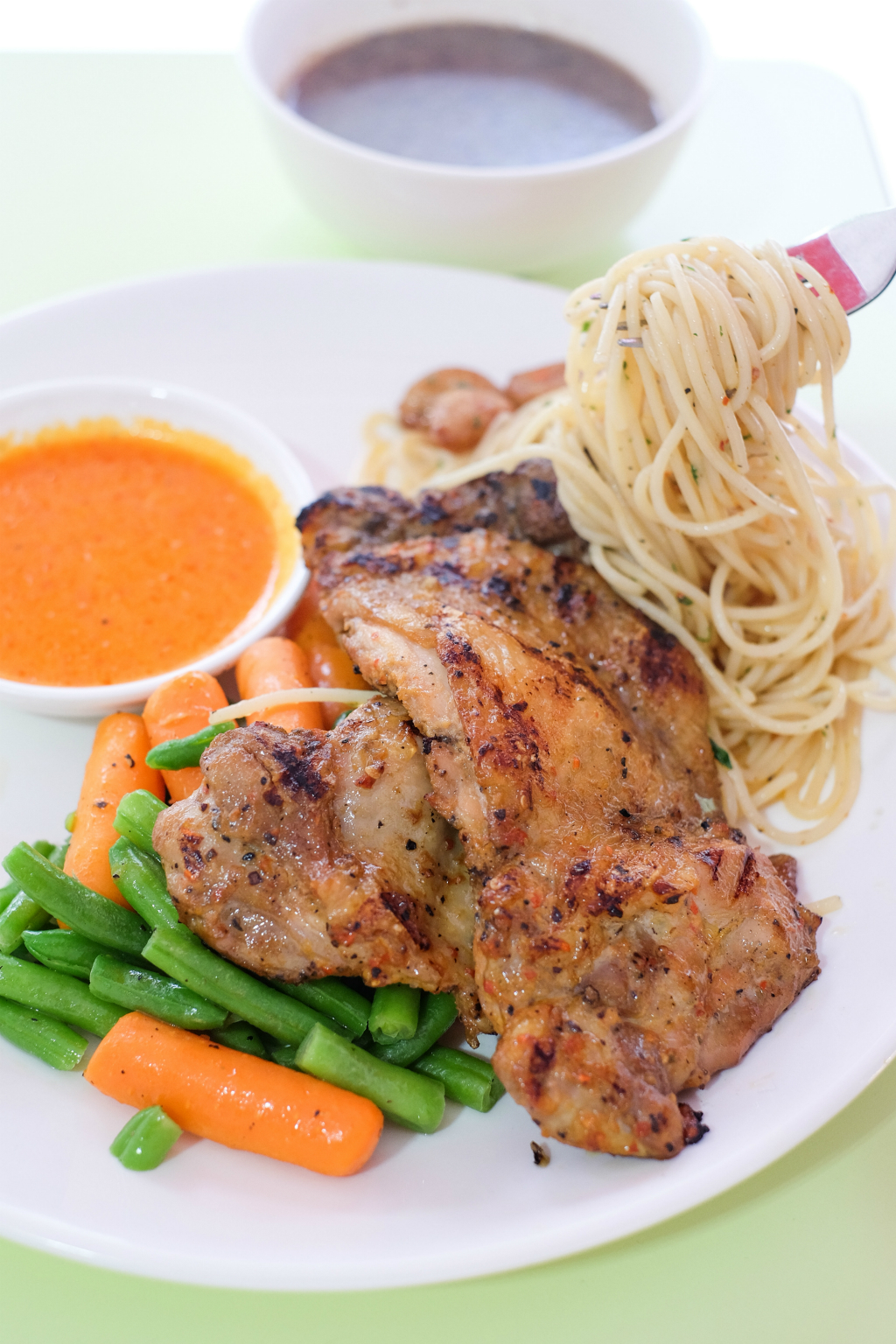 Fancy Hawker Food: The Pasta Stop's Grilled Spicy Chicken Chop Combo @ Ci Yuan Hawker Centre