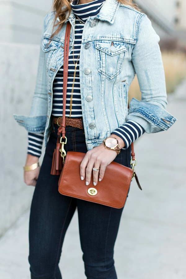 Denim on demin + Coach shoulder bag