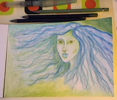 Mixing all my watercolour products to see how it feels using them together. #watercolourpencils #aquamarkers #watercolours #aquarel #mermaid #green #blue #sketchbook #art