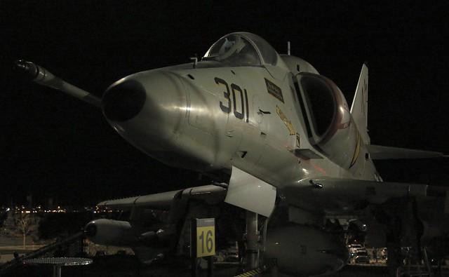 USS Midway by night - A4 Skyhawk
