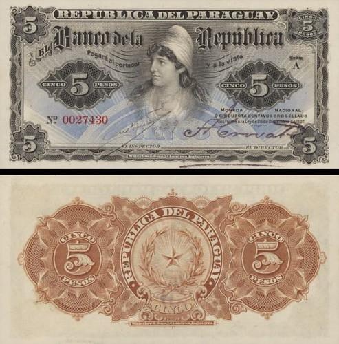 5 Pesos Paraguaj 1907, P156 UNC
