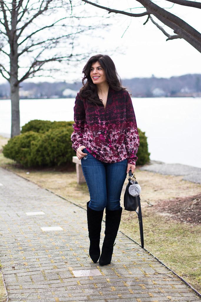 floral wrap blouse, denim, black boots, coach bag-2.jpg